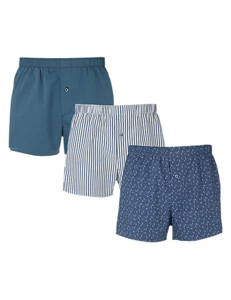 3 Pack Pure Cotton Assorted Boxers