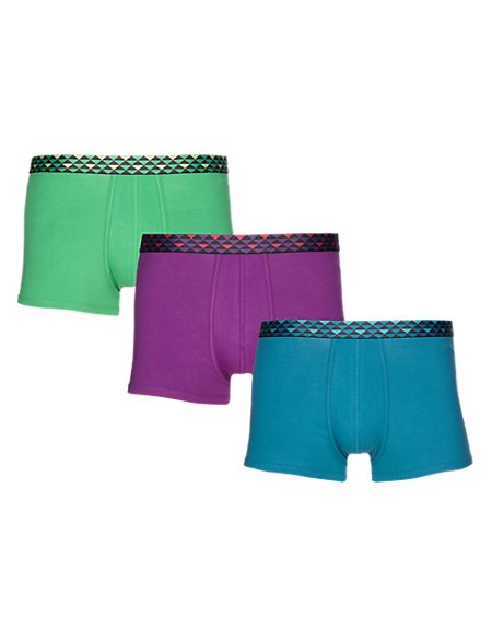 3 Pack Cool & Fresh™ Stretch Cotton Geometric Print Waistband Hipsters with StayNEW™