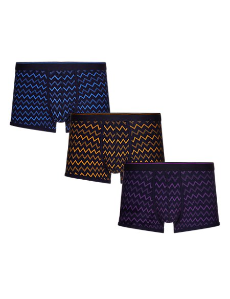 3 Pack Cool & Fresh™ Stretch Cotton Zig Zag Hipsters with StayNEW™