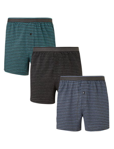 3 Pack Cool & Fresh™ Pure Cotton Triple Striped Boxers with StayNEW™