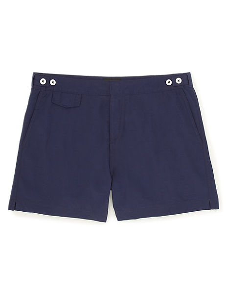 Tailored Fit Adjustable Waistband Swim Shorts