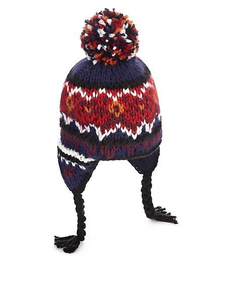 Chunky Knit Trapper Hat Older Boys Ms