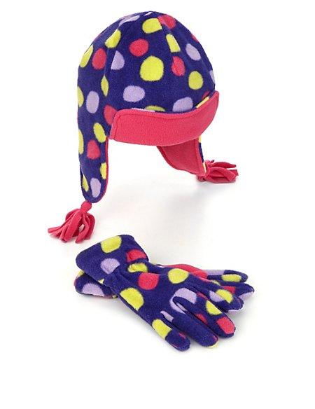 2 Piece Spotted Hat, Gloves & Mittens Set