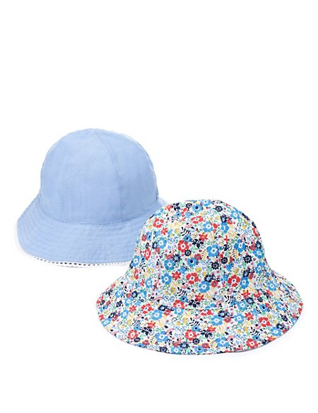 2 Pack Pure Cotton Assorted Hats (Younger Girls)
