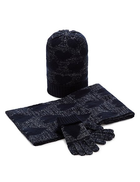 Kids' 3 Piece Heart Print Hat, Snood & Gloves Set