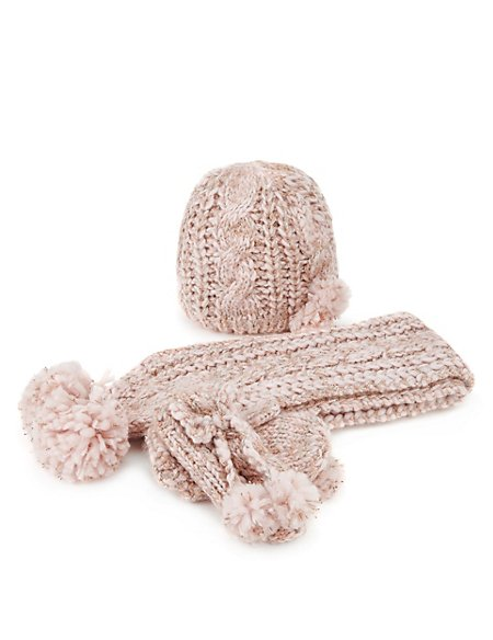 3 Piece Metallic Effect Chunky Knit Hat, Scarf & Mittens Set