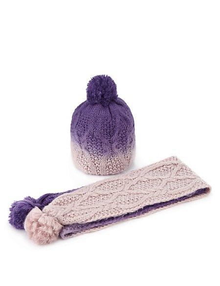 Dip Dye Chunky Knit Hat & Scarf Set
