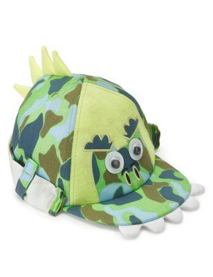 Kids Cotton Rich Safe In The Sun Dinosaur Kepi Cap M Amp S