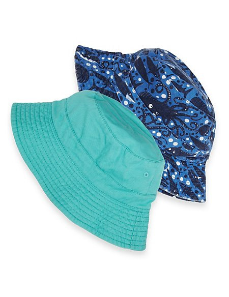 2 Pack Pure Cotton Whale Print Pull On Hats (Younger Boys)