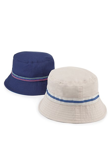 2 Pack Pure Cotton Pull On Striped Hats (Older Boys)