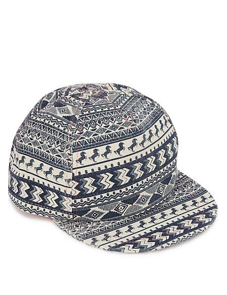 Kids' Pure Cotton Aztec Print Cap