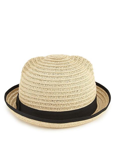Kids' Contrast Bow Cat Trilby Hat