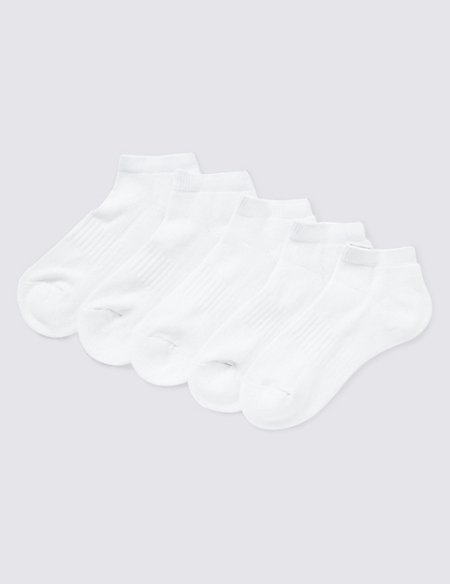 5 Pairs of Cotton Rich Cushioned Trainer Liners (3-16 Years)