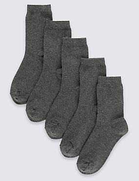 5 Pairs of Cotton Rich School Socks (2-16 Years)