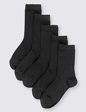 5 Pairs of Cotton Rich School Socks (3-16 Years)