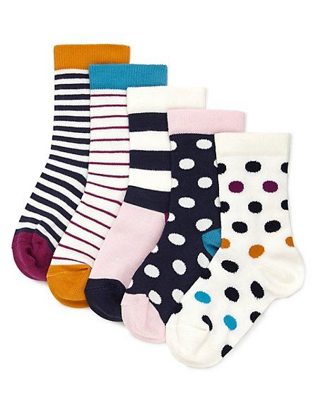 5 Pairs of Contemporary Striped & Spotted Socks (1-7 Years)