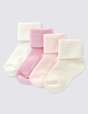 4 Pairs of Cotton Rich Assorted Baby Socks (0-24 Months)