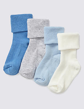 4 Pairs of Cotton Rich StaySoft™ Baby Socks (0-24 Months)