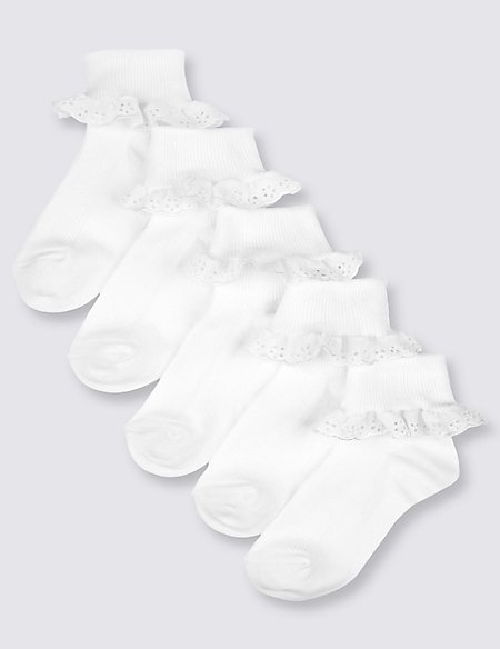 5 Pairs of Cotton Rich Frilly Socks (2-14 Years)