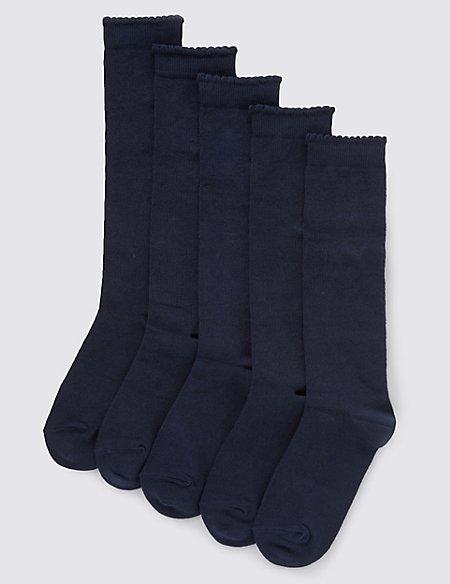 5 Pairs of Freshfeet™ Heart Print Knee High School Socks (3-14 Years)