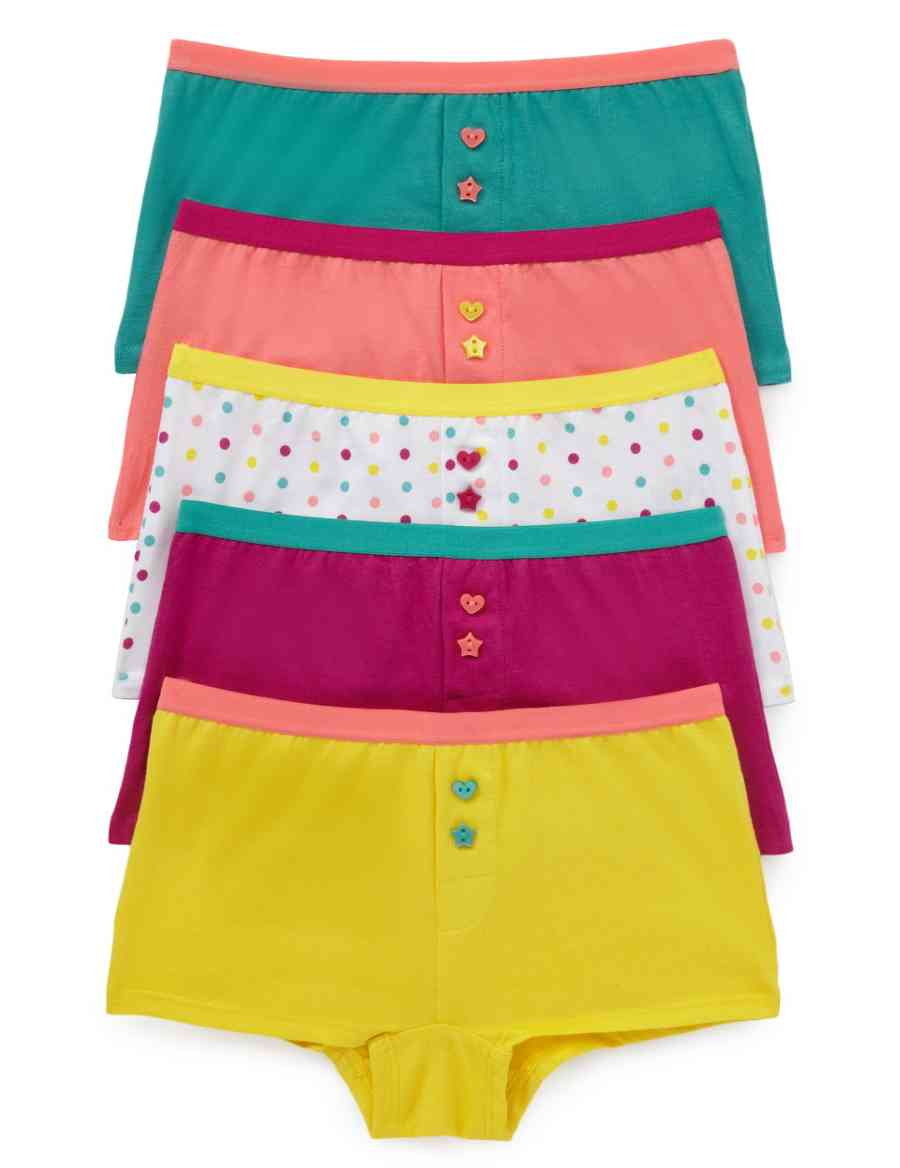 4990035148 5 Pack Pure Cotton Assorted Boxers (Older Girls)