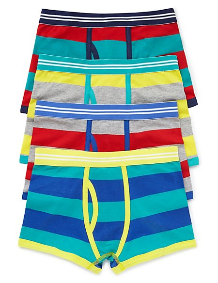 4 Pack Cotton Rich Rugby Striped Trunks (5-16 Years)