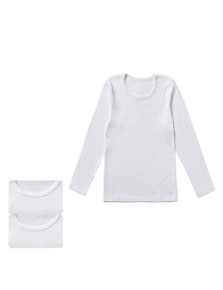 Pure Cotton Long Sleeve Vests (1-16 Years)