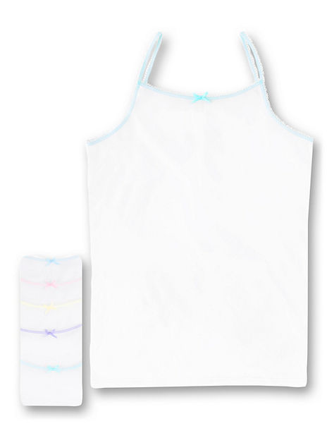 Pure Cotton Scallop Trim Camisole Vests (18 Months - 16 Years)