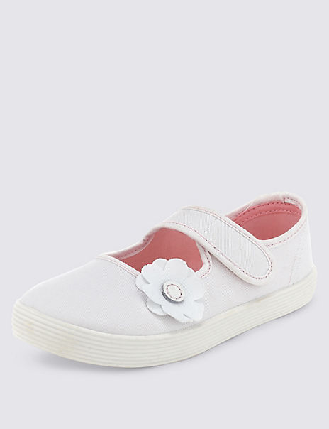 Kids' Canvas Floral Applique Plimsolls (7 Small - 4 Large)