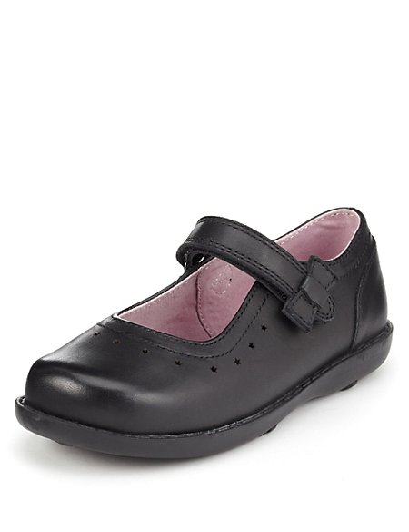 Kids' Leather Wide Fit Riptape Bow School Shoes