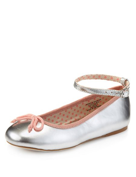 Leather Bow Ankle Strap Ballet Pumps
