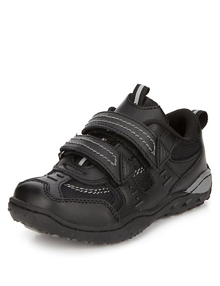 Freshfeet™ Coated Leather Twin Riptape Trainers with Silver Technology (Younger Boys)