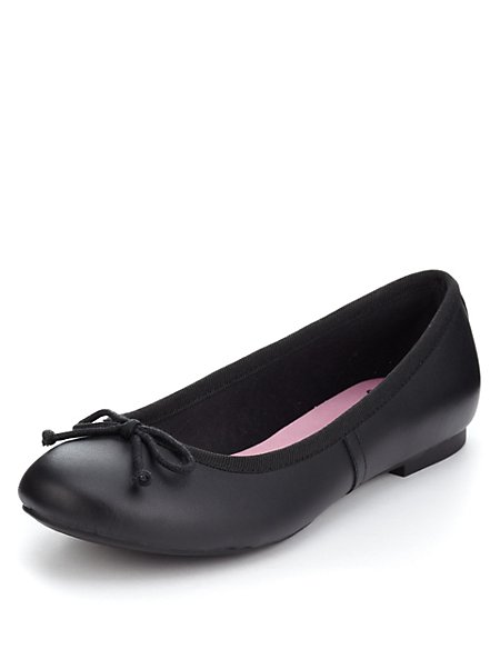 Scuff Resistant Leather Bow Ballet Pumps (Older Girls)