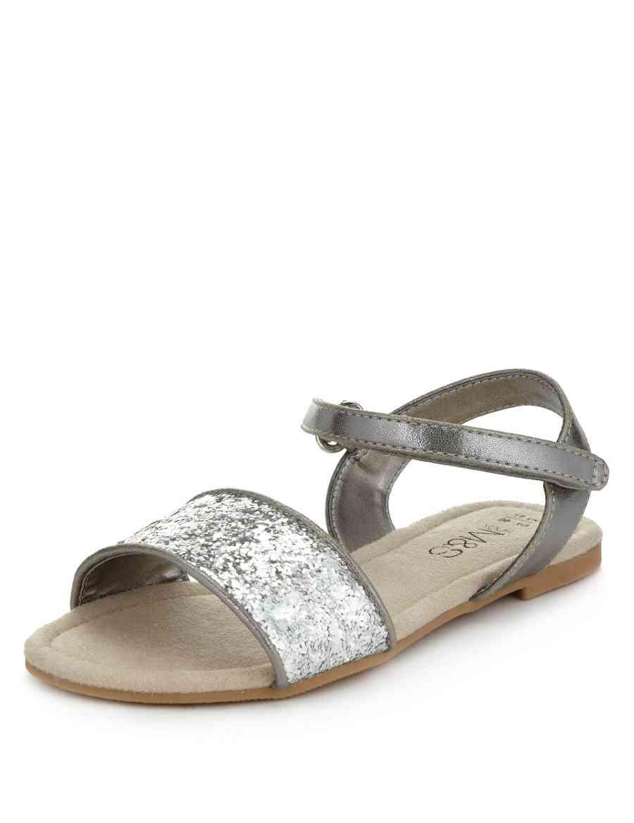 51b337d478484c Glitter Effect Riptape Sandals (Younger Girls)