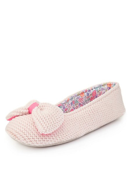 Knitted Bow Slippers