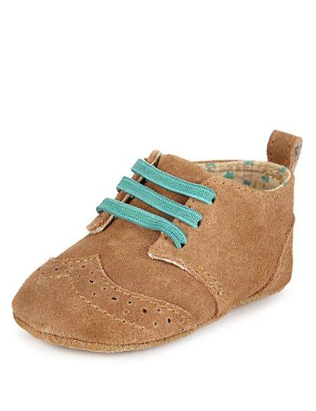 Suede Lace Up Brogue Pram Shoes