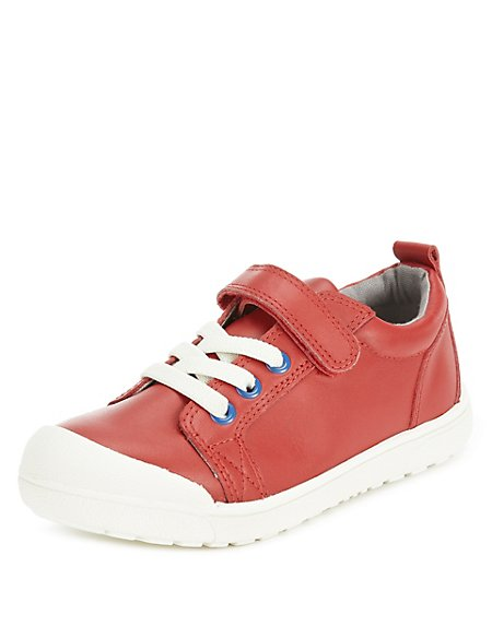 Kids' Leather Low Top Riptape Casual Trainers