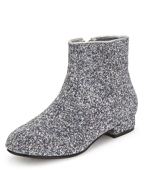 Glitter Effect Ankle Boots