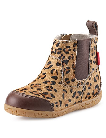 Kids' Walkmates Leather Leopard Print Chelsea Ankle Boots
