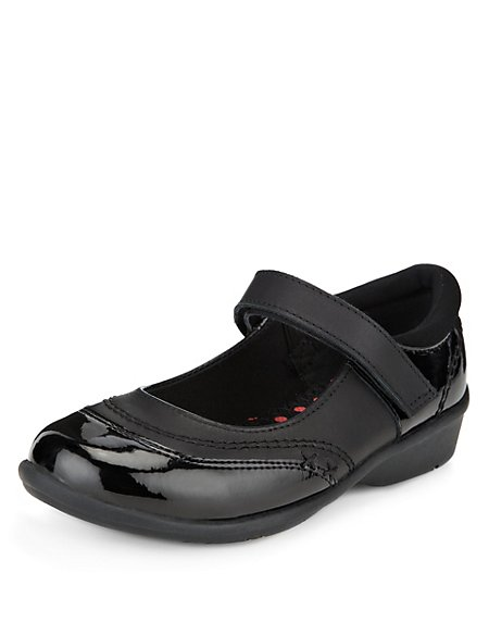 Coated Leather Cross Bar School Shoes (Younger Girls)