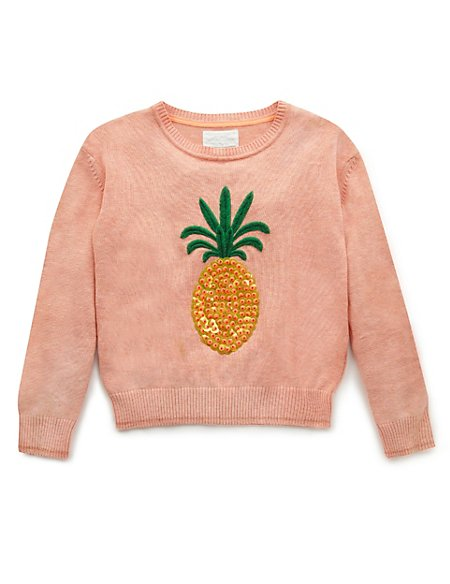 Cotton Rich Sequin Embellished Pineapple Jumper (5-14 Years)