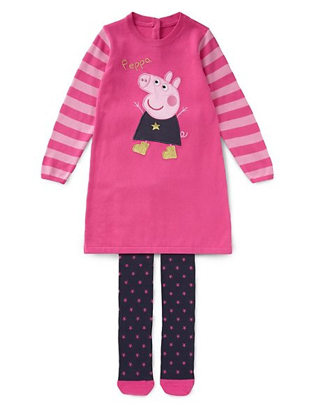 Cotton Rich Peppa Pig Knitted Dress Tights Outfit With Staynew