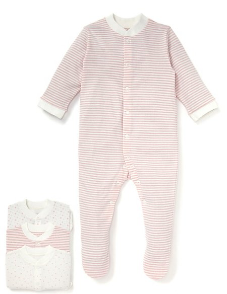 3 Pack Pure Cotton Pink Star Sleepsuits