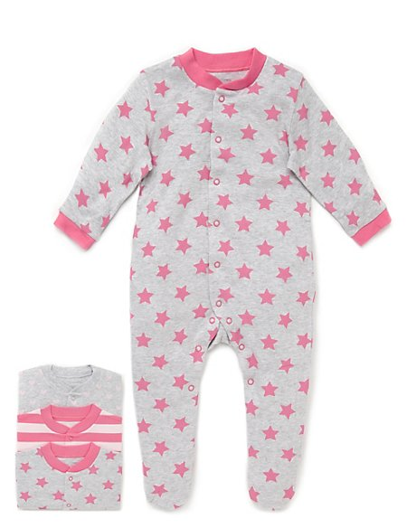 3 Pack Pure Cotton Heart & Striped Sleepsuits