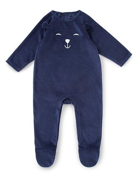 Velour Teddy Sleepsuit