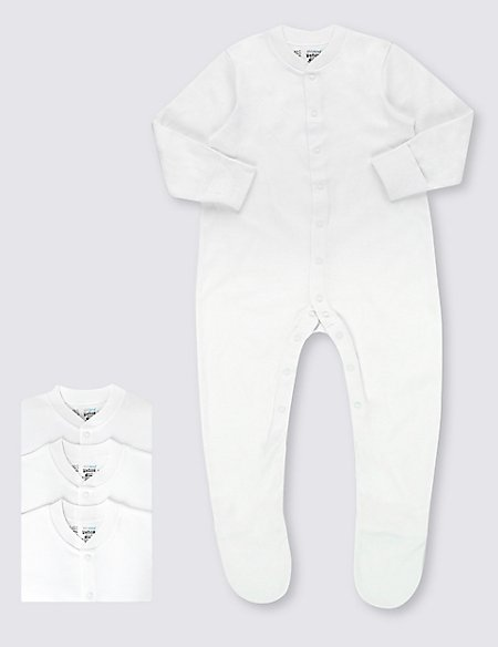 3 Pack Pure Cotton Skin Kind™ Sleepsuits