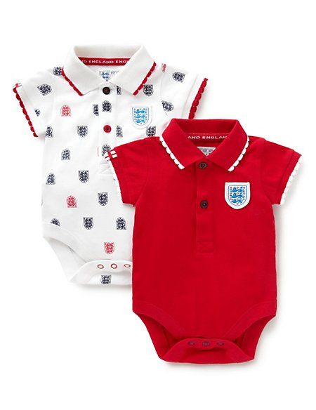 f1940981 2 Pack Pure Cotton Official England FA 3 Lions Bodysuits | M&S