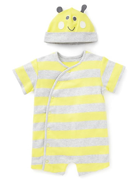 2 Piece Pure Cotton Striped Sleepsuit with Bee Hat