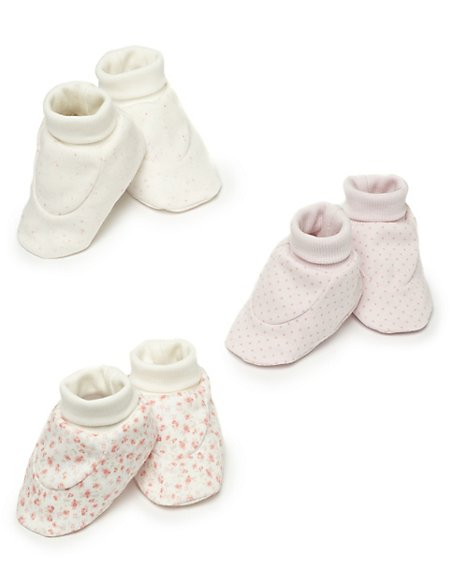 3 Pairs of Pure Cotton Assorted Booties