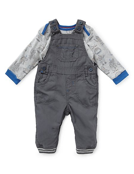 2 Piece Pure Cotton Ripstop Dungaree & Bodysuit Outfit